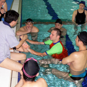 Andrew Baildon teaching at Superfish Swim Schools