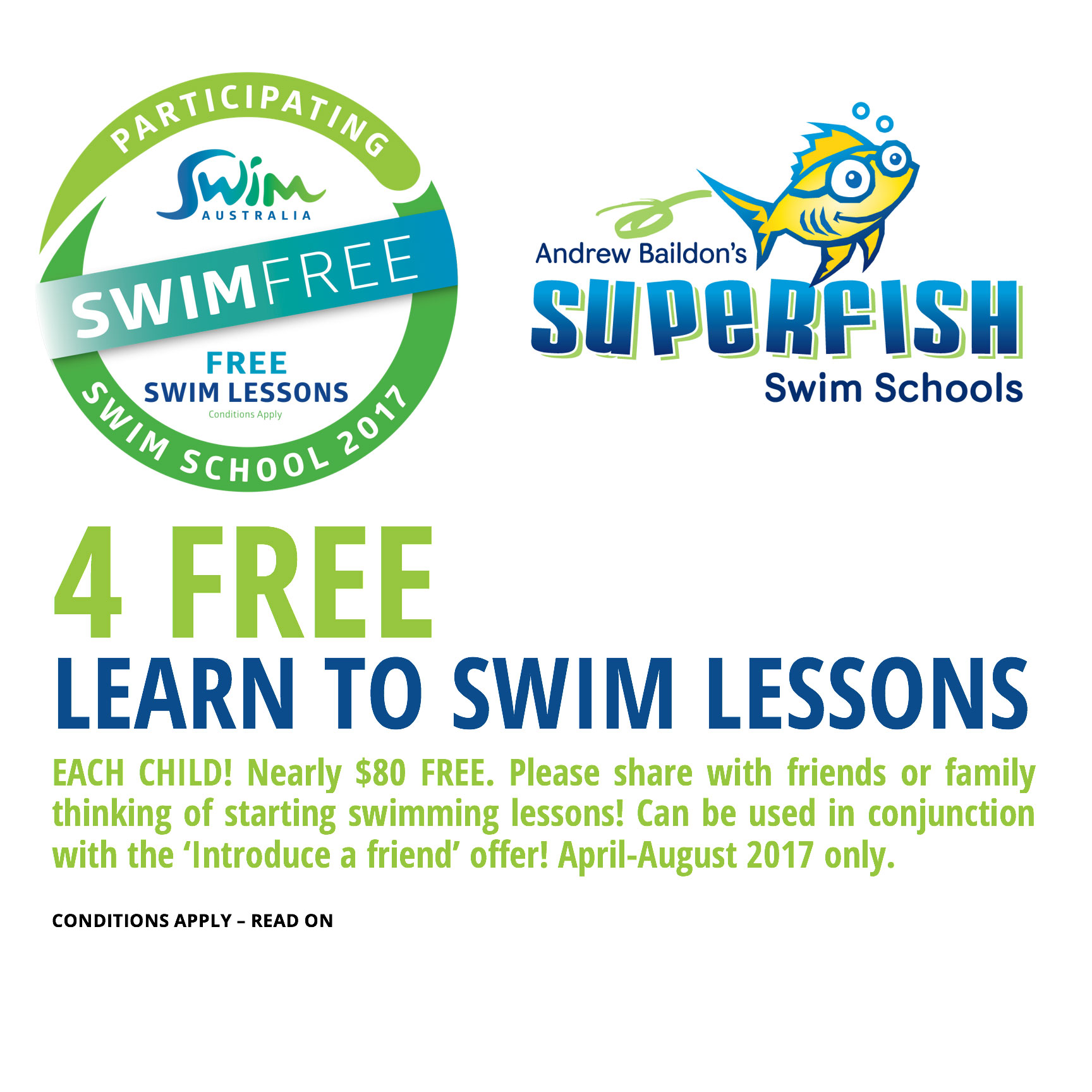 Superfish Swim Schools Swim Australia 4 Free Lessons Offer