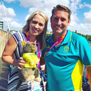 Andrew Baildon with Commonwealth Games Minister Kate Jones at GC2018