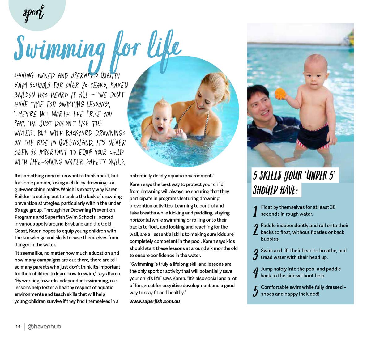 Superfish Swim Schools Haven Magazine Feature April 2018
