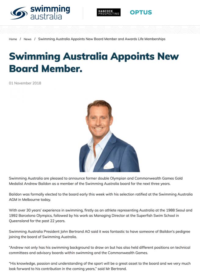 Swimming Australia Andrew Baildon Board Member