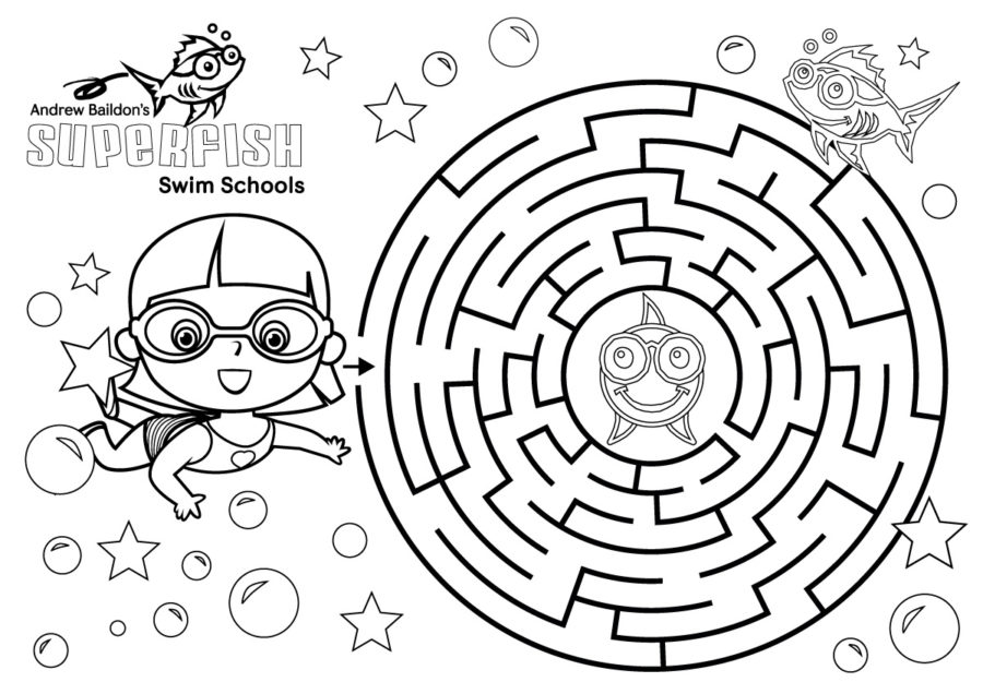 Superfish Swim Schools Colour In Puzzle Girl and Cliff the Superfish